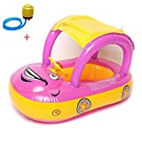 Inflatable Baby Float Seat Boat Beach Car Sun Shade Water Swimming Pool Canopy ( Purple+Yellow ) + A Plastic Foot Air Pump Inflator