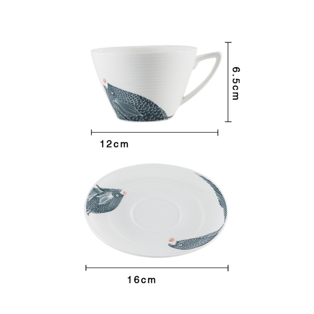 qwert Teacup,Coffee cup set Porcelain cup Household Hotels Simple latte cup 1 cups, 1 discs. Capacity 220ml-A by qwert (Image #7)