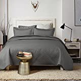 Bedsure 3-Piece Bedding Quilt set Grey Charcoal King size 106x96 Bedspread with 2 Pillow Shams Pattern Soft Microfiber Coverlet set H
