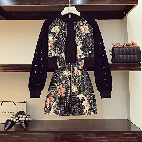 Best Quality - Womens Sets - Street Shooting Tide Show Set Autumn Vintage Print Short Jacket High Waist A-Line Skirt Suit - by SeedWorld - 1 PCs