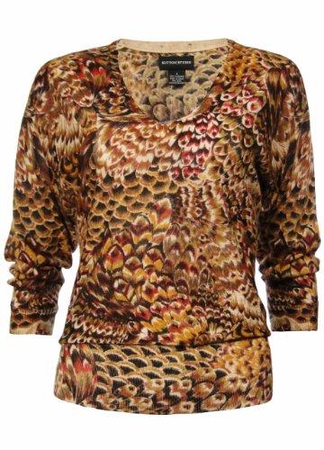 Sutton Studio Womens Cashmere Dolman Print Sweater (Petite Medium)