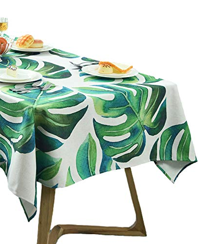 BOXAN Classic Green Leaves Tablecloth with Palm Leaf, Exotic Fantasy Hawaiian Tropical Palm Leaves Stylish Floral Graphic Illustrated Art, Dining Room Kitchen Rectangular Table Cover, 55 X 70 inches
