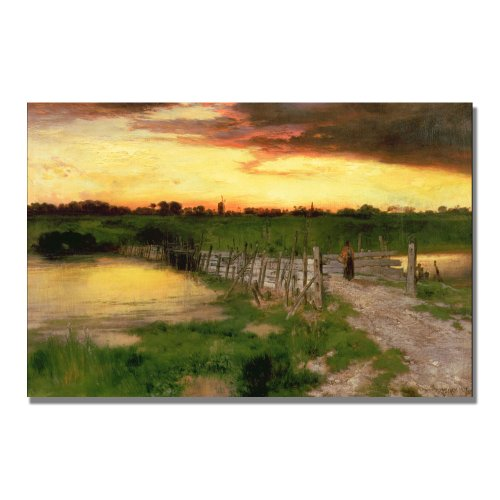 The Old Bridge Over Hook Pond by Thomas Moran, 16x24-Inch Canvas Wall ()
