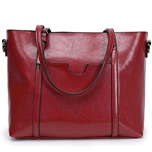 Vintga Women Top Handle Satchel Handbags Shoulder Bag Tote Bag Purse (Red - Purse Tote Zip Top