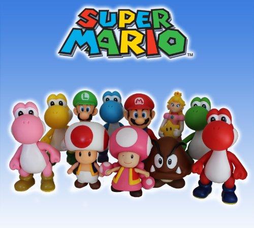 Super Mario Brothers 11-PIECE ACTION FIGURE PLAY SET OF 5-INCH FIGURES - MARIO, LUIGI, PRINCESS PEACH, TOAD, TOADETTE, GOOMBA & 5 YOSHIS!