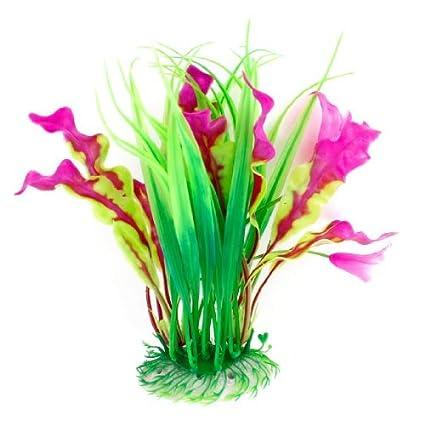DealMux plástico pecera decoración de flores bajo el agua gramíneas, verde / púrpura