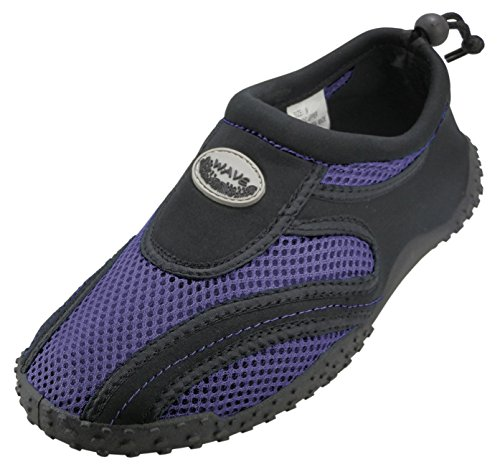 Cambridge Select Kids Mesh Quick Dry Slip-on Cordón Zapato De Agua Antideslizante (little Kid / Big Kid) Black / Purple