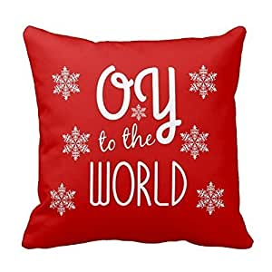 Generic Custom 18 X 18 Pillow Cover Cover Oy To The World Holiday Humor Throw Pillowcase