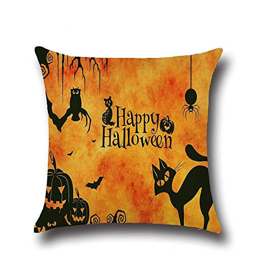 SPXUBZ Sayings Happy Halloween Quotes Tree Branch Owl Bat Spider Pumpkin Flax Throw Pillow Cover Home Decor Nice Gift Square Indoor Linen Pillowcase Standar Size:20x20 in (Two Sides) -