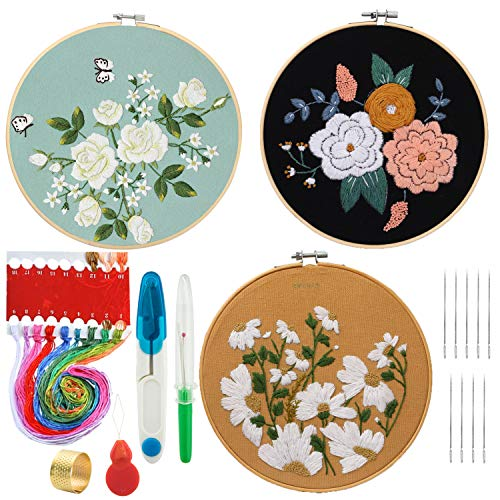 HaiMay 3 Sets Embroidery Starter Cross Stitch Kit with 3 Pieces Floral Pattern, 3 Bamboo Embroidery Hoops, Color Threads and Tools Kit