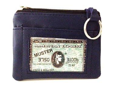 Amazon.com: Womens piel ID/Coin/Tarjeta Caso (Azul Marino ...