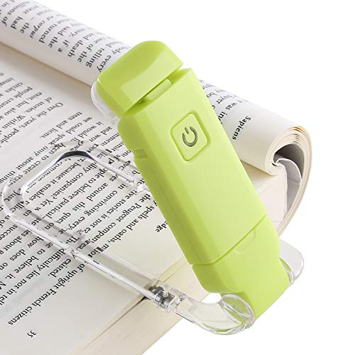 DEWENWILS USB Rechargeable Book Light for Kids, Warm White, Brightness Adjustable for Eye Protection, LED Clip on Book Light for Reading in Bed, Flexible Book Reading Lights, Green