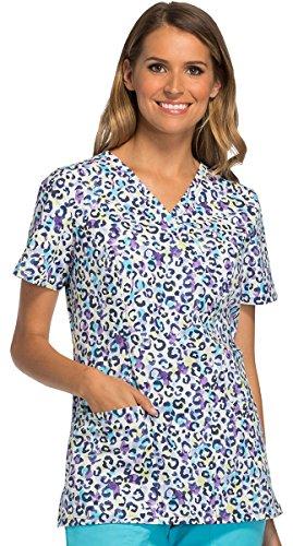 Mock Wrap Scrub Top (Fashion Prints By Cherokee Women's Mock Wrap Animal Print Scrub Top X-Small Print)