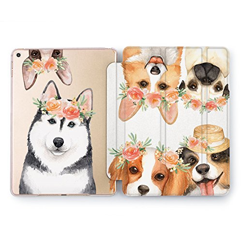Wonder Wild Protective iPad 2018 2017 Pro 9.7 inch Auto Wake Sleep Dogs Flowers Coverage Cute Corgi Print Plastic Design Husky Transparent Floral Mini 1 2 3 4 Air 2 ()
