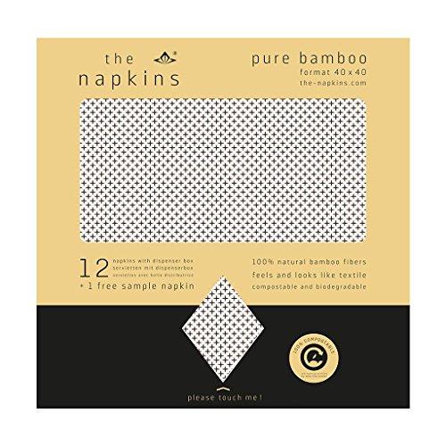 The Napkins Pure Bamboo Lexi Design - 40x40 cm Biodegradable Napkin - Feels Like Cloth (Lexi Natural/Cocoa) ()