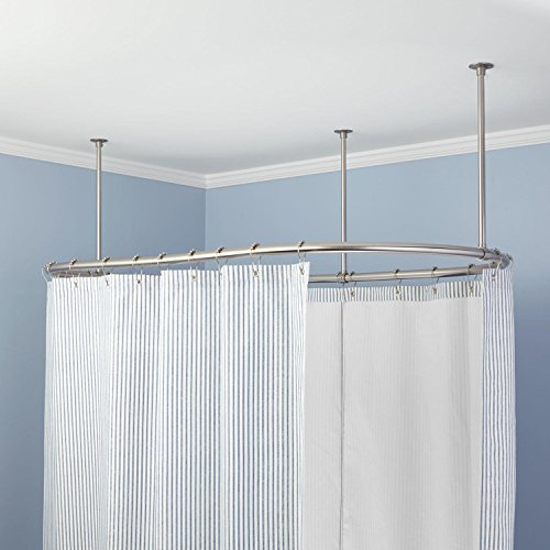 Naiture 60'' L X 30'' W Brass Oval Shower Curtain Rod Chrome Finish by Naiture (Image #1)