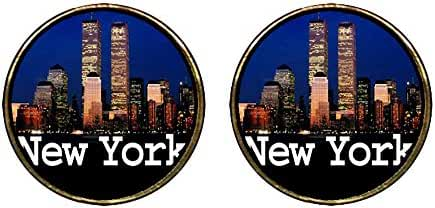 GiftJewelryShop Gold Plated the night in New York city Photo Stud Earrings 12mm Diameter