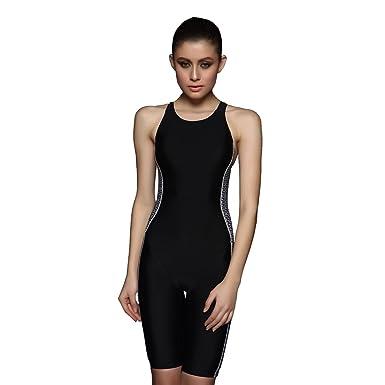 84d35af1ff Amazon.com: PHINIKISS Women's Sleeveless Long Leg Swimwear Athletic ...