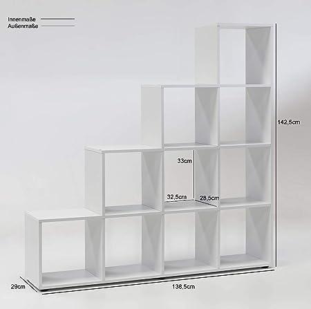 6 – 6 de 5 – 2104: fabricado en BRD – biombos – Moderno – Estantería Estantería – Escaleras Forma – Blanco Dekor – 10 Compartimiento: Amazon.es: Hogar
