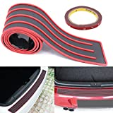 "Universal Car Rubber Rear Guard Bumper Protector Trim Cover, Car Sticker Protector Kit for Most Truck SUV Car 35.4""Black with Red Stripe Design"