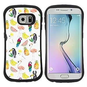 """Hypernova Slim Fit Dual Barniz Protector Caso Case Funda Para Samsung Galaxy S6 EDGE [Patrón de sandía Flamingo Loro Blanco""""]"""
