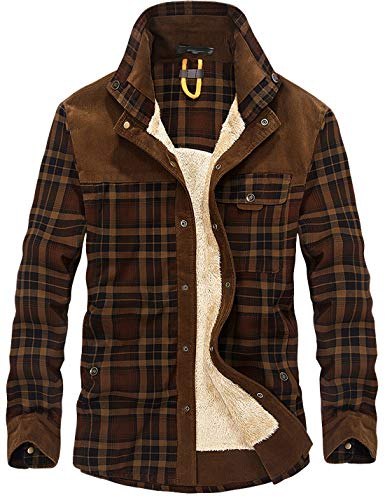 Flygo Men's Casual Long Sleeve Fleece Sherpa Lined Flannel Plaid Shirt Jacket (Large, Coffee)