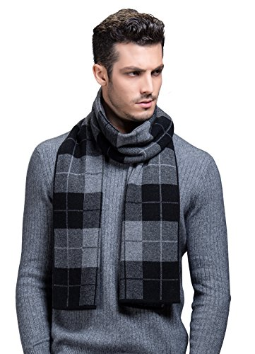 Ellettee, Plaid Black Grey 100% Australian Wool Men Scarf Classic Premium Luxurious Knitted Long Neckwear Elegant Stripe Plaid (Mens Wool Scarves)