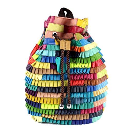 Bolso De Cuero Para Mujer Bolsos De Costura Mochilas Mochila De Ocio Personalidad Ondulada Mochilas Escolares Mochila Negra Color