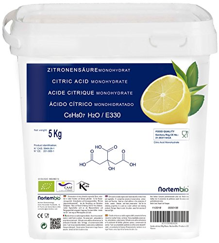 Zitronensäure 5 Kg monohydrat, E330, granulierte Pulver, von höchster Qualität, Non-GMO. Entkalker, NortemBio, produkt-CE