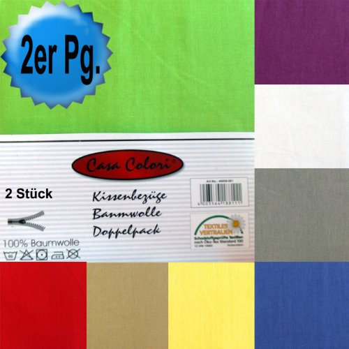 2er Pg. Kissenbezug, Kissenhülle, 40 x 80 cm, Baumwolle, Kissenbezüge, Reissverschluß, Farbauswahl (grün, 40_x_80_cm)