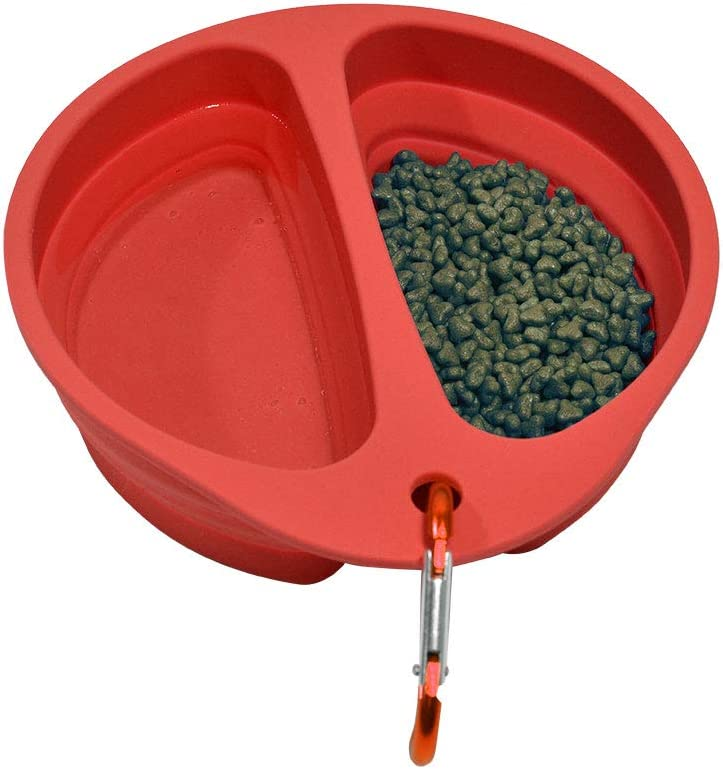 Xerath Silicone Collapsible Dog Bowl, BPA Free and Dishwasher Safe Food Grade Silicone Foldable Pet Bowls, Portable Dog Food and Water Feeding Travel Bowl with Carabiner