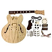 GDES260 RIGHT HANDED Mahogany Semi Hollow body Electric Guitar DIY Kit for Student & Luthier Projects Big Guitar Solid Mahogany/Basswood with Spalted maple veneer top