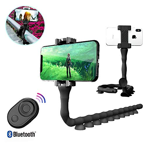 Bendable Flexible Selfie Stick, 2019 New Smartphones Monopod Stand Tripod Mount Suction Cup Stand with Bluetooth Remote Shutter for iPhone and Samsung Mobile Phones (Black) (Suction Tripod Phone)