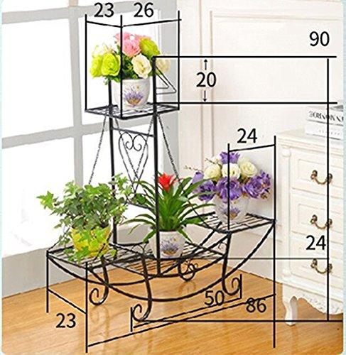 European style flower frame / multi-floor floor pots / balcony living room shelves, plant racks ( Color : Black , Size : 862390cm )