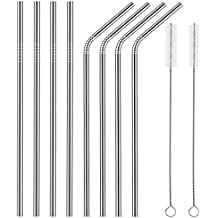 YIHONG Set of 8 Stainless Steel Straws Ultra Long 10.5 Inch Drinking Metal Straws For Tumblers Rumblers Cold Beverage (4 Straight|4 Bent|2 Brushes)
