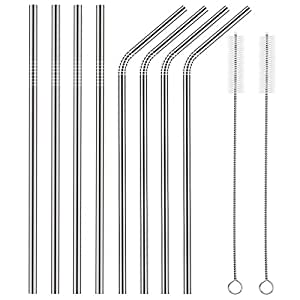 Set of 8 Stainless Steel Straws FDA-Approved Ultra Long 10.5'' Drinking Metal Straws For 20 30oz Stainless Tumblers Rumblers Cold Beverage (4 Straight + 4 Bent + 2 Brushes)