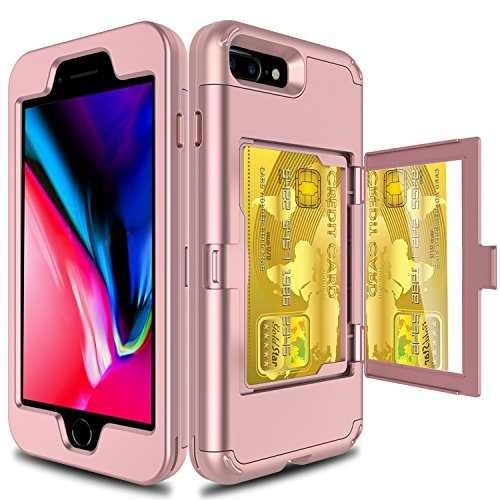 Elegant Choise Compatible with iPhone 8 Plus Case, iPhone 7 Plus Wallet Case, Heavy Duty Shockproof Defender Wallet Case with Hidden Back Mirror and Card Holder Protective Case Cover (Rose Gold)