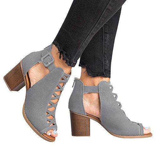 atform Open Toe Ankle Strap Zipper Back High Heel Sandals, Grey, 9 ()