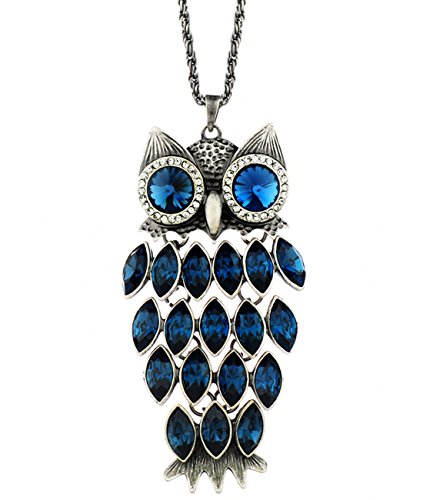 Neoglory Birthstone Blue Crystal Made with Swarovski Elements Vintage Owl Pendant Long Chain Necklace Charm Women Statement Sweather Jewelry - Charm Swarovski Crystal Necklace