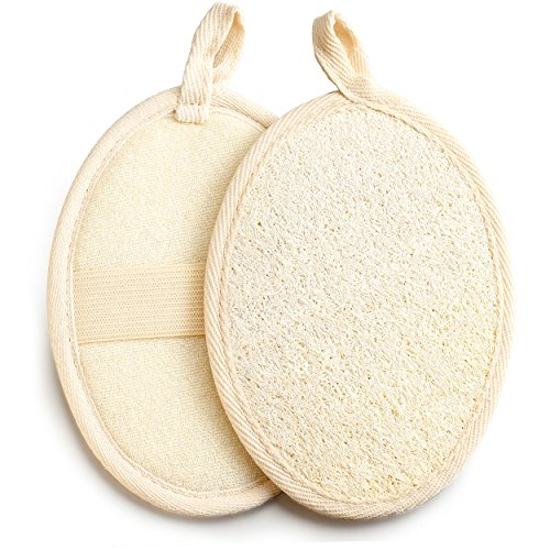 Exfoliating Loofah Pad - 2pack 100% Natural Loofah Sponge Scrubber Brush Close Skin for Men and Women - GAINWELL