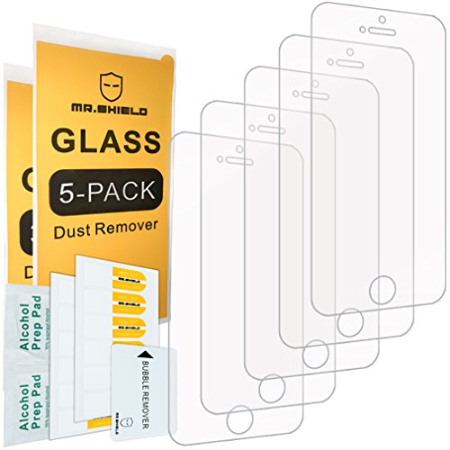 [5-PACK]-Mr Shield For iPhone SE / iPhone 5/5S / iPhone 5C [Tempered Glass] Screen Protector with Lifetime Replacement Warranty 5c Shield