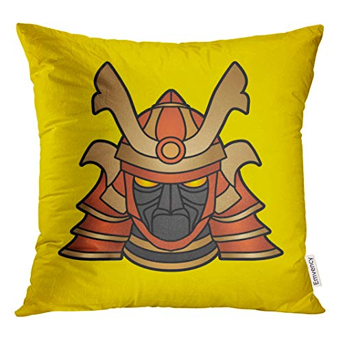 Semtomn Decorative Throw Pillow Case Cushion Cover Helmet Samurai Mask Graphic Japan Traditional Warrior Angry Armour Asia 20x20 Inch Cases Square Pillowcases Covers