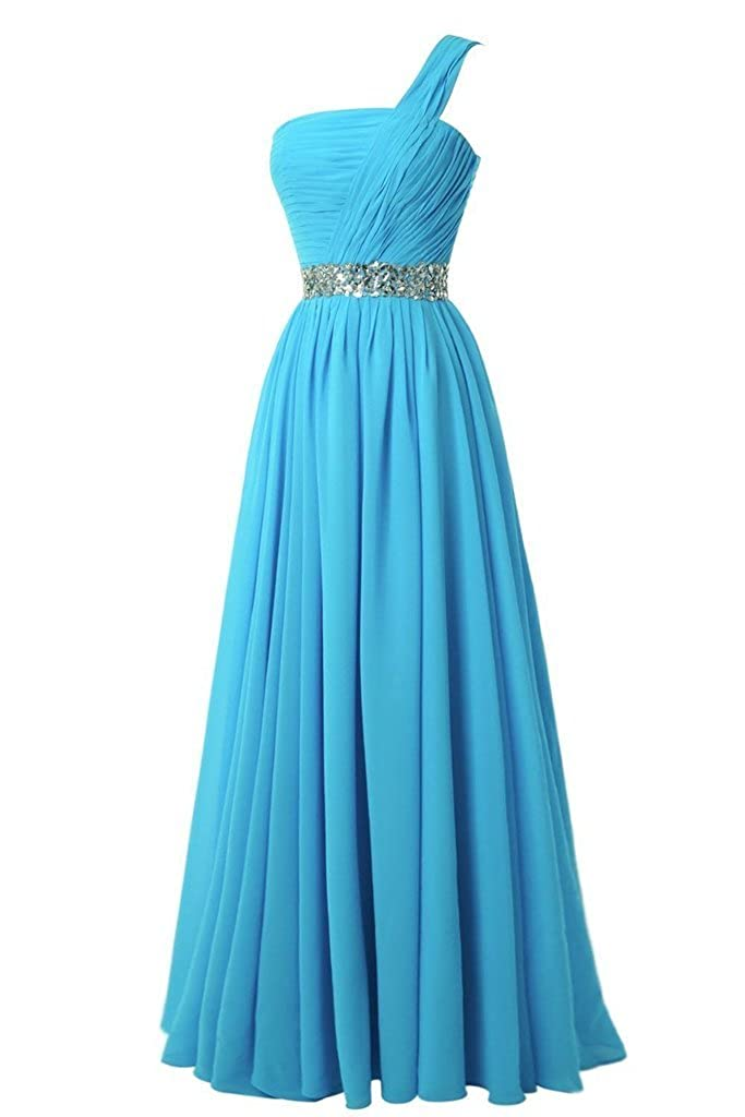 Womens One Shoulder Chiffon Long Bridesmaid Dresses Beaded Evening Gown