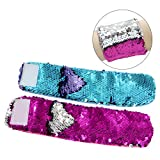 MHJY 2PCS Mermaid Bracelet for Kids Flip Sequin Bracelet fro Girls Magic Sequin Bracelet for Boys Reversible Sequin Wristband Bracelets for Birthday Party Favors