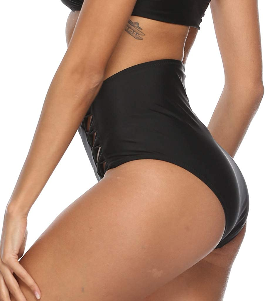 Womens Hollow Out Bikini Bottoms Strappy High Waisted Tankini Shorts Swimming Trunks