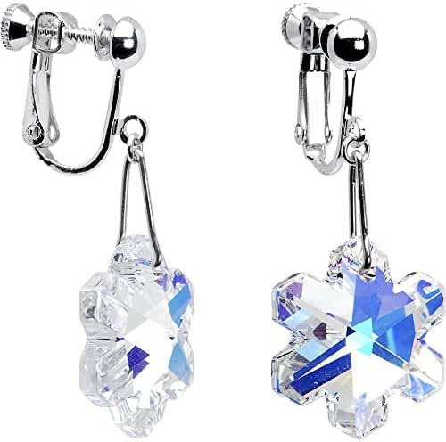 Body Candy Handcrafted Silver Plated Aurora Snowflake Clip Earrings Created with Swarovski Crystals