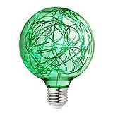 Judy Lighting - G95 LED Globe Fairy Light Bulb for Ambient Night Lighting, E26 Standard Medium Base Edison with Starry Decorative String Lights for Bathroom, Bedroom, Living Room (Green)