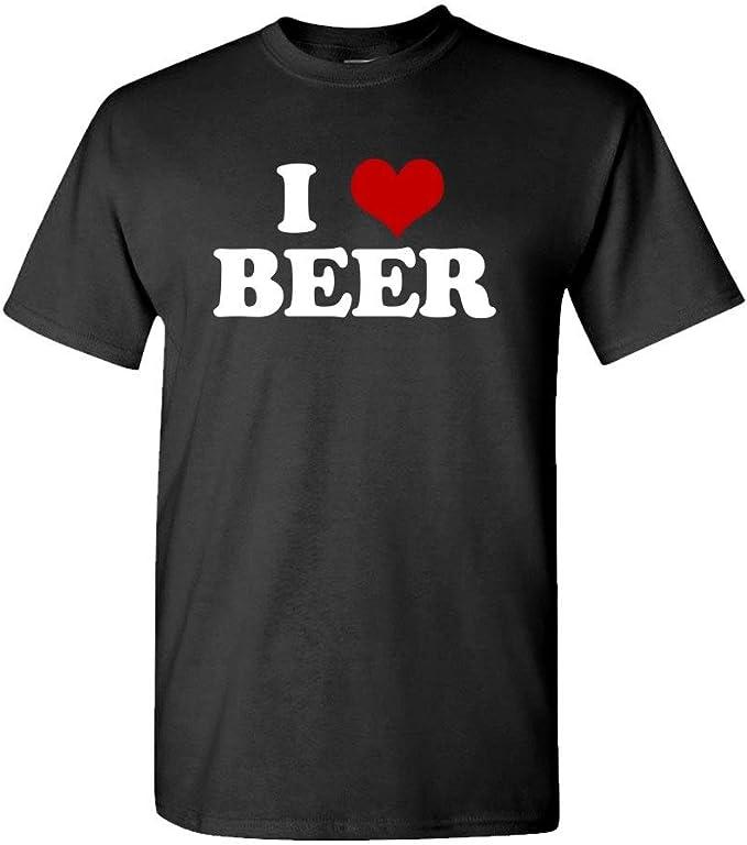 Camiseta de algodón para Hombre, diseño con Texto en inglés I Heart Beer Love Alcohol Brew Lager Ae