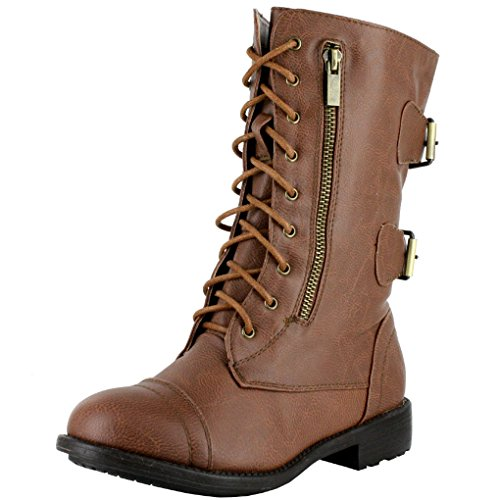 - Women's Combat Military Cowboy Mid Calf Rubber Sole Lace up Ankle Buckles Strap Stean Punk Round Toe Flat Heel Motorcycle Casual Combat Boots Fashion Designer Comfort Shoes,Pack-72v4.0 Tan 11