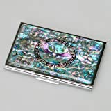 Mother of Pearl RFID Blocking Protection Blue Butterfly and Arabesque Design Purse Pocket Business Credit Id Name Card Holder Case Metal Stainless Steel Engraved Slim Money Wallet